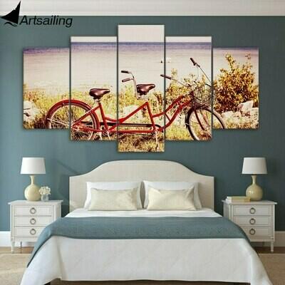 Bicycle - 5 Panel Canvas Print Wall Art Set