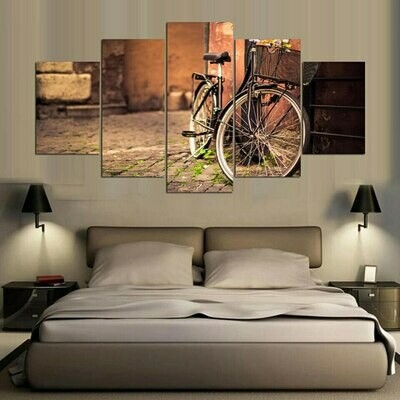 Buildings Bicycle - 5 Panel Canvas Print Wall Art Set