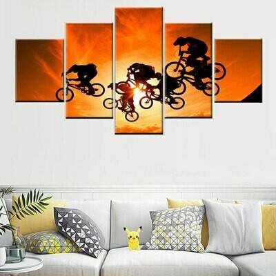 Cyclist Sun Landscape Sky Sport - 5 Panel Canvas Print Wall Art Set
