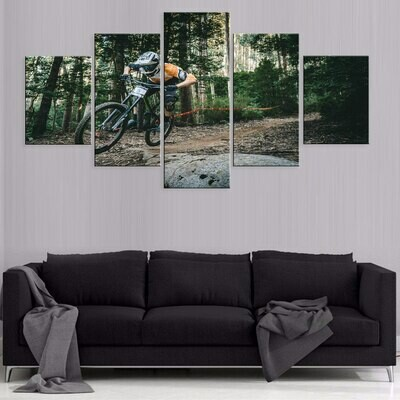 Decoration Bicycle Sport Bike - 5 Panel Canvas Print Wall Art Set