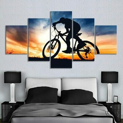 Extreme Sports Bicycle Motocross - 5 Panel Canvas Print Wall Art Set