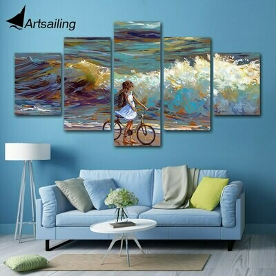 Sea Water Bicycle Sky - 5 Panel Canvas Print Wall Art Set