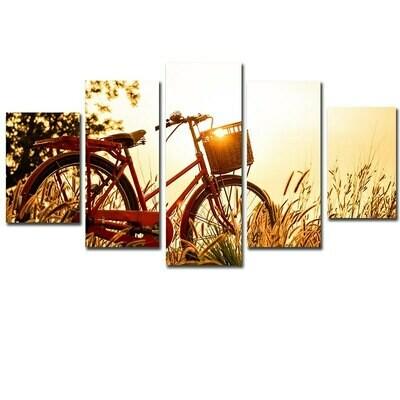 Sunrise Bicycle Dandelion - 5 Panel Canvas Print Wall Art Set