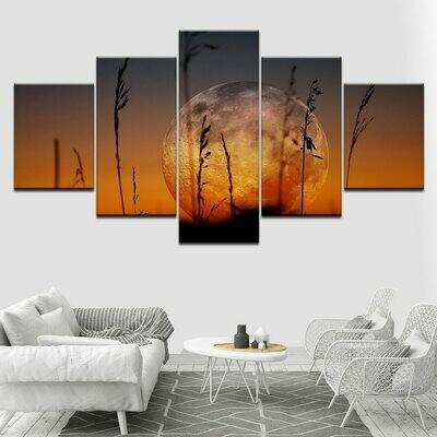 A Larger Moon Landscape - 5 Panel Canvas Print Wall Art Set