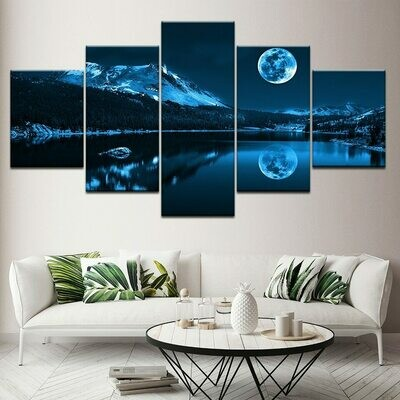 Abstract Blue Moon Night - 5 Panel Canvas Print Wall Art Set
