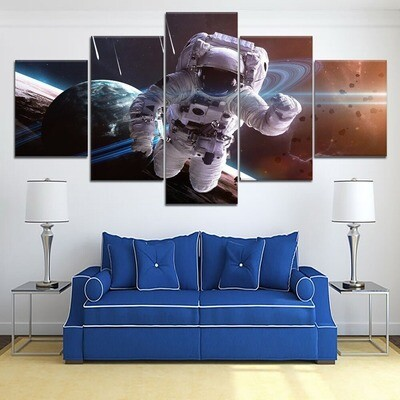 Lagre Astronauts Space Planets Cuadros - 5 Panel Canvas Print Wall Art Set