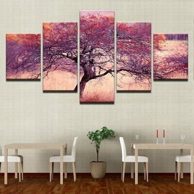 Purple Red Tree - 5 Panel Canvas Print Wall Art Set