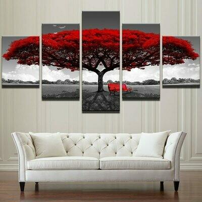 Red Big Tree Framework - 5 Panel Canvas Print Wall Art Set