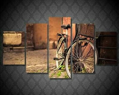 Bicycle Bike Photography - 5 Panel Canvas Print Wall Art Set