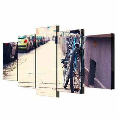 Bicycle Car Street - 5 Panel Canvas Print Wall Art Set