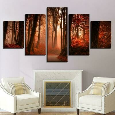 Red Tree And Forest - 5 Panel Canvas Print Wall Art Set