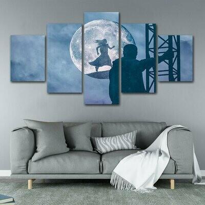 Abstract Moon Night Men And Girl - 5 Panel Canvas Print Wall Art Set