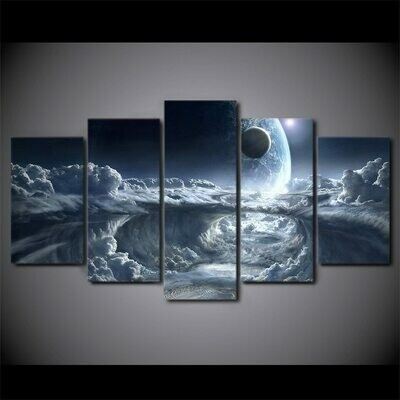 Alien Planet Moons Space - 5 Panel Canvas Print Wall Art Set