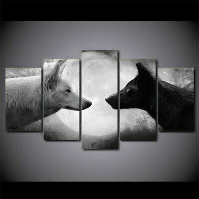 Black Wolf White Wolf Moon - 5 Panel Canvas Print Wall Art Set
