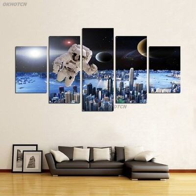 Space Astronaut  Galaxy Planet - 5 Panel Canvas Print Wall Art Set