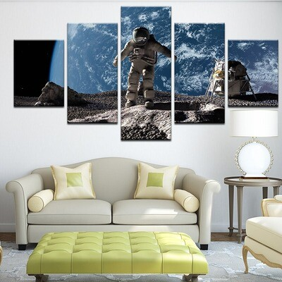 The Astronauts - 5 Panel Canvas Print Wall Art Set