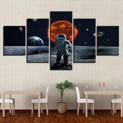 Universe Planets Sun Earth Moon - 5 Panel Canvas Print Wall Art Set