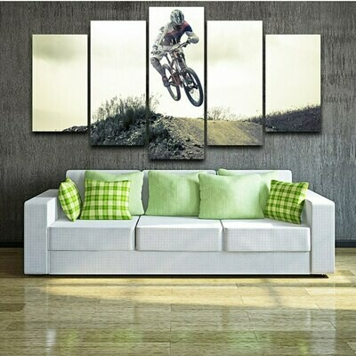 All Terrain Bicycle Cycling - 5 Panel Canvas Print Wall Art Set