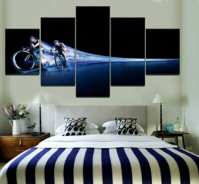 Bicycle Cycling Time Lapse - 5 Panel Canvas Print Wall Art Set