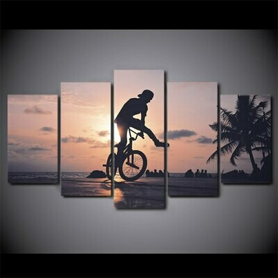 Bicycle Healthy fitness - 5 Panel Canvas Print Wall Art Set
