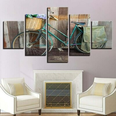Bicycle Landscape - 5 Panel Canvas Print Wall Art Set