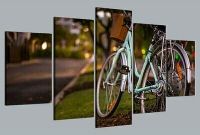 Bicycle Love Bike Bokeh - 5 Panel Canvas Print Wall Art Set