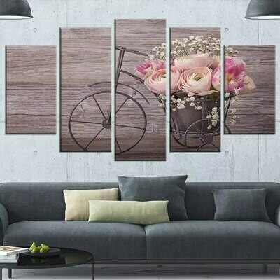 Bicycles And Flowers - 5 Panel Canvas Print Wall Art Set