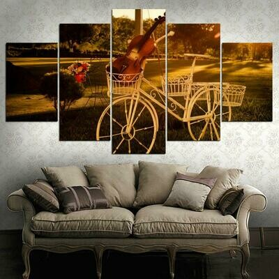 Bicycles And Violins - 5 Panel Canvas Print Wall Art Set