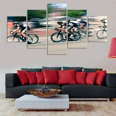 Bike Race Bicycle - 5 Panel Canvas Print Wall Art Set