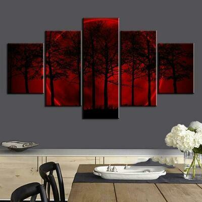 Red Moon Tree - 5 Panel Canvas Print Wall Art Set