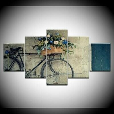 Classic Retro Bicycle Belgrade - 5 Panel Canvas Print Wall Art Set