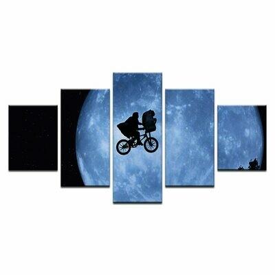 Cyclist Under The Moonlight Cartoon - 5 Panel Canvas Print Wall Art Set