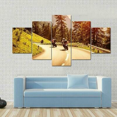 Group Of Motorcyclists - 5 Panel Canvas Print Wall Art Set