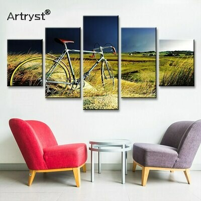 Bicycle On Meadow - 5 Panel Canvas Print Wall Art Set
