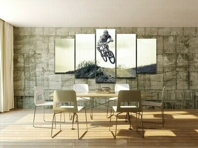 Cyclists Sports Maximal Exercise Venturer - 5 Panel Canvas Print Wall Art Set