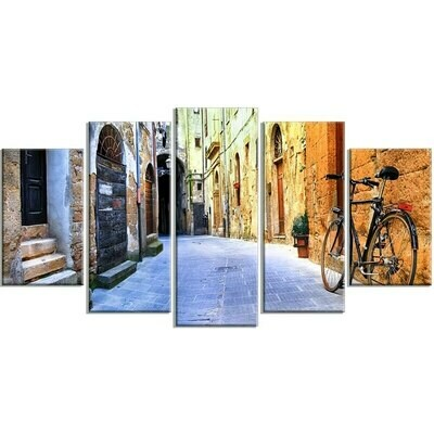 Old Street Retro Bicycle - 5 Panel Canvas Print Wall Art Set