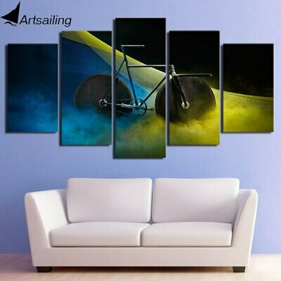 Psychedelic Bicycle - 5 Panel Canvas Print Wall Art Set
