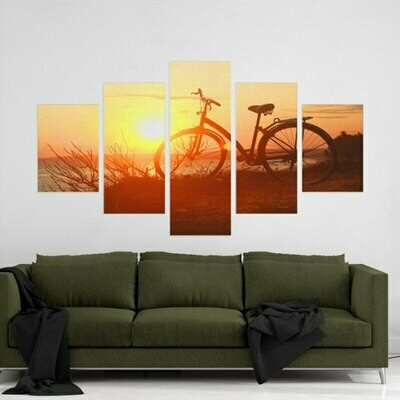 Sunset Ride Bicycle - 5 Panel Canvas Print Wall Art Set