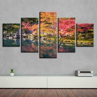 Red Tree Lake - 5 Panel Canvas Print Wall Art Set