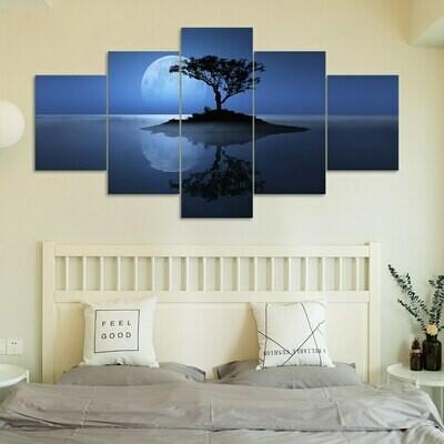 Abstract Tree Blue Moon Night Scene - 5 Panel Canvas Print Wall Art Set