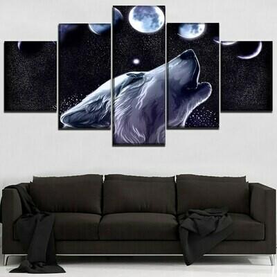 Animals Wolf - 5 Panel Canvas Print Wall Art Set