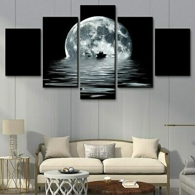Black And White Sea Moon - 5 Panel Canvas Print Wall Art Set