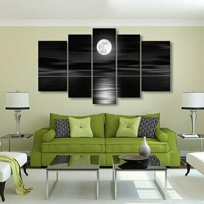 Bright Full Moon - 5 Panel Canvas Print Wall Art Set