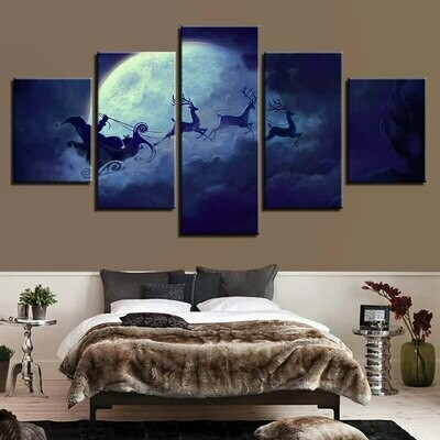 Deer In The Sky Running Moon - 5 Panel Canvas Print Wall Art Set