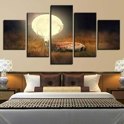 Deer Moon Night Scenery - 5 Panel Canvas Print Wall Art Set