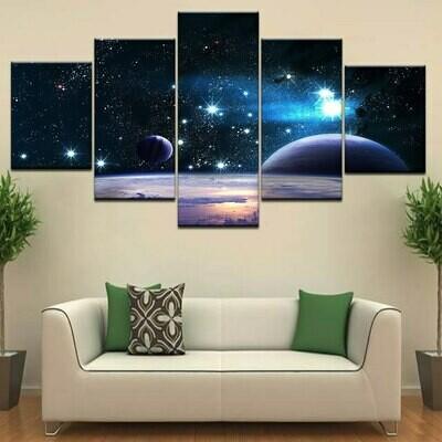 Earth Sun and Moon - 5 Panel Canvas Print Wall Art Set