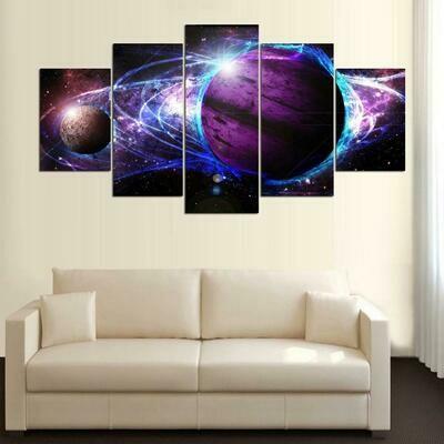 Abstract Moon Earth Poster - 5 Panel Canvas Print Wall Art Set