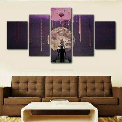 Abstract Moon Night Scene Comics - 5 Panel Canvas Print Wall Art Set