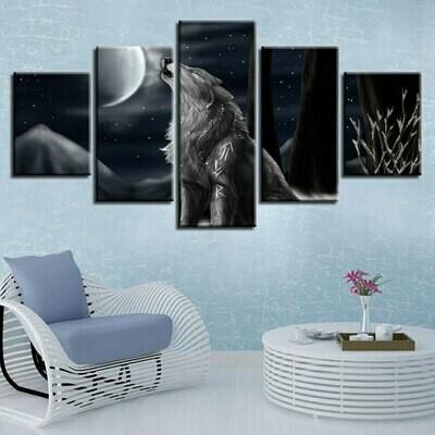 Animal Wolf Howl At Moon Night - 5 Panel Canvas Print Wall Art Set