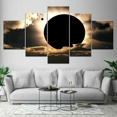 Black Moon - 5 Panel Canvas Print Wall Art Set